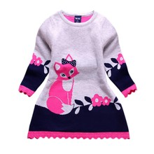 Buy Autumn&Winter Children Girl's Long-sleeve Dresses Kids Girls Fox Print Thick Sweater Dress Children 2-7Y for $5.87 in AliExpress store