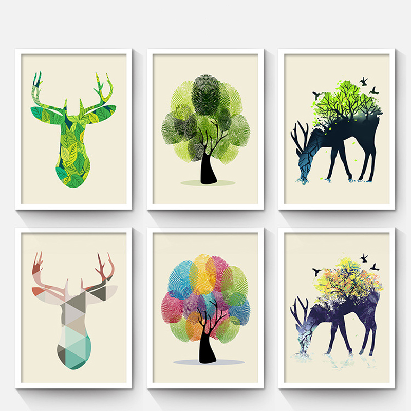 Children's Room Cartoon Decoration Painting Living Room Wall Painting Modern Minimalist Restaurant Paintings Framed Mura(China (Mainland))