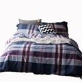 Plaid bedding set queen size Egyptian cotton bedding for men stripe duvet cover bedspread pillowcases multi