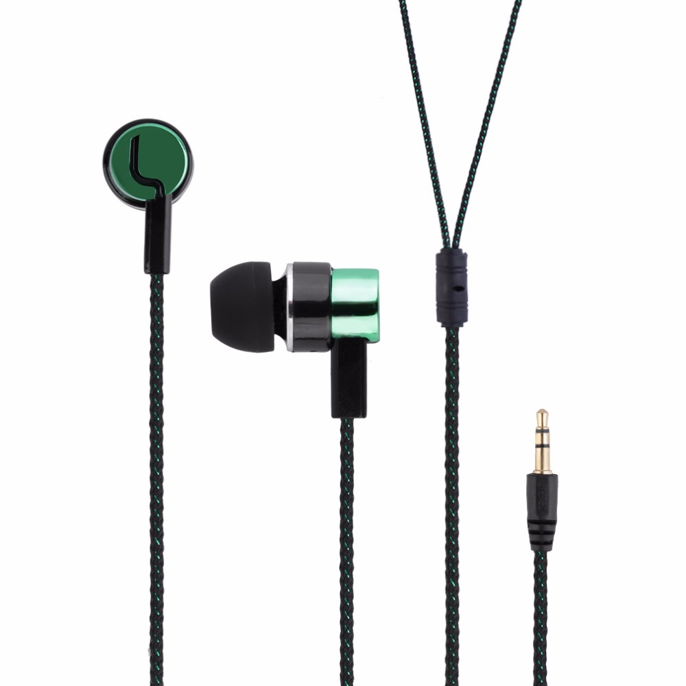 3.5mm Stereo Woven Fiber Cloth Line Headset Device Metal Earphones Jack Wholesale