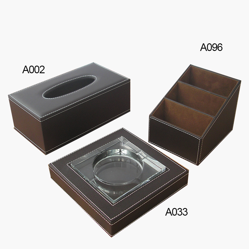 brown black 3PCS /set home office desk organizer storage box dispenser holder rectangle tissue case ash tray T74
