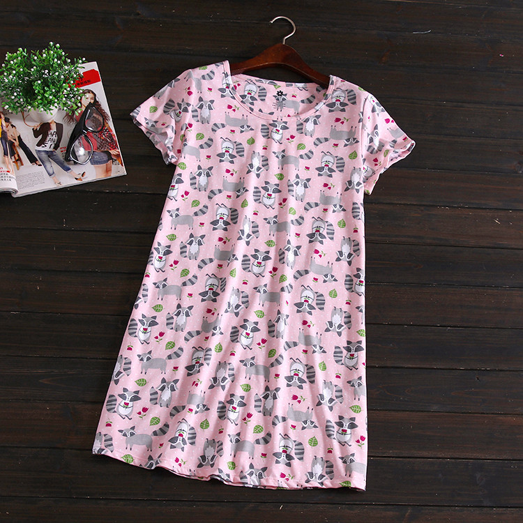 2016 Summer Simple Series new short sleeve 100% cotton women nightgowns sexy cute polar Animal fox print sleepshirts for ladies(China (Mainland))