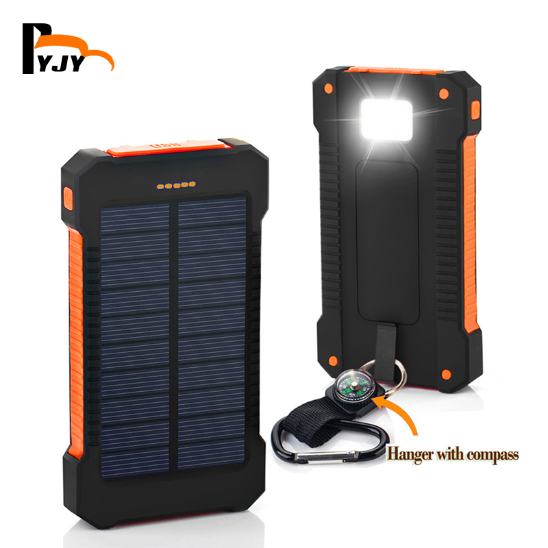 BYJY Solar Power Bank Dual USB Power Bank 20000mAh External Battery Portable Charger Bateria Externa Pack for Mobile phone(China (Mainland))