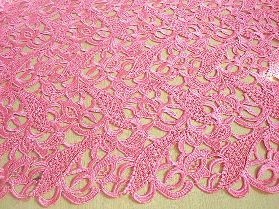 Pink Lace fabric for bridal, costume, crocheted net venise lace sewing diy supplies