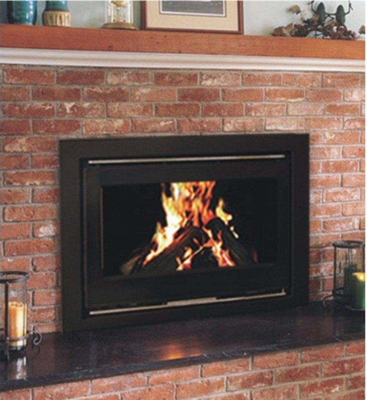 Yn 090 modern metal wood burning fireplace insert in for Modern wood burning insert