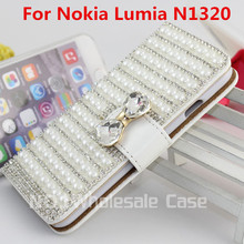 Luxury Elegance Crystal Diamond Stand Leather Flip Wallet Phone Case Cover For Nokia Lumia 1320 N1320 Free Gifts+USB+Dust Plug(China (Mainland))