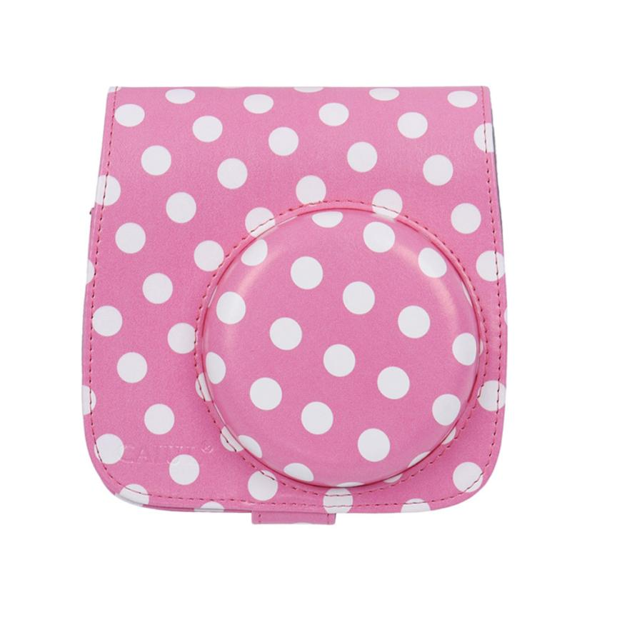Top Quality New Fashion Classic PU Leather Polka Dot Camera Case Bag For FUJIFILM Instax Mini8 Mini8s JAN 27(China (Mainland))