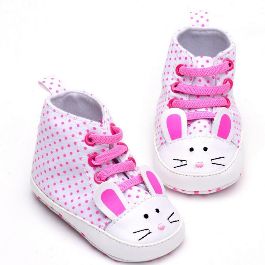 Baby girls Shoes Infant Cartoon animals rabbit Polka Dot Cute Exterior Lace-up Shoes First Walkers Crib Shoes for 0-18 month(China (Mainland))
