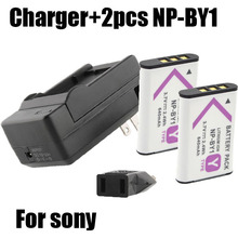 Hot 2x NP-BY1 bateria np by1 battery + DC charger for Sony HDR-AS100v HDR-AZ1 AZ1VR AZ1VB AZ1VW.Mini Video Camera DV accessory(China (Mainland))