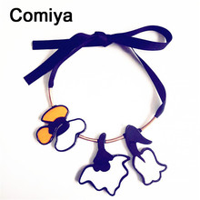 Comiya hot fashion acrylic hadmade purple necklaces for women anime collier online shopping indian rope statement necklace(China (Mainland))