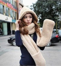 Warm Thick Scarf Set for Women Winter Hat Scarf and Gloves Sets Plush Hats and Scarves with Pocket Fashion Fall Ring Wrap Shawls(China (Mainland))