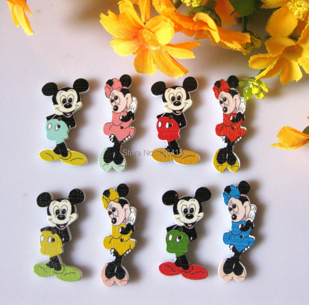 150pcs/lot bulk Mickey Mouse 2 Holes natural Wooded Buttons Mixed Scrapbook cartoon loose buttons craft Sewing accessories(China (Mainland))