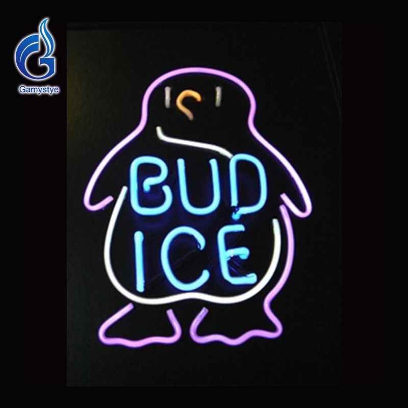 Neon Sign BUD ICE Budweiser Penguin Neon Bulb Beer Pub Neon Light Lamp Beer Signs Lighted Art Glass Tube Lumineuse Bar Pub 17x14(China (Mainland))
