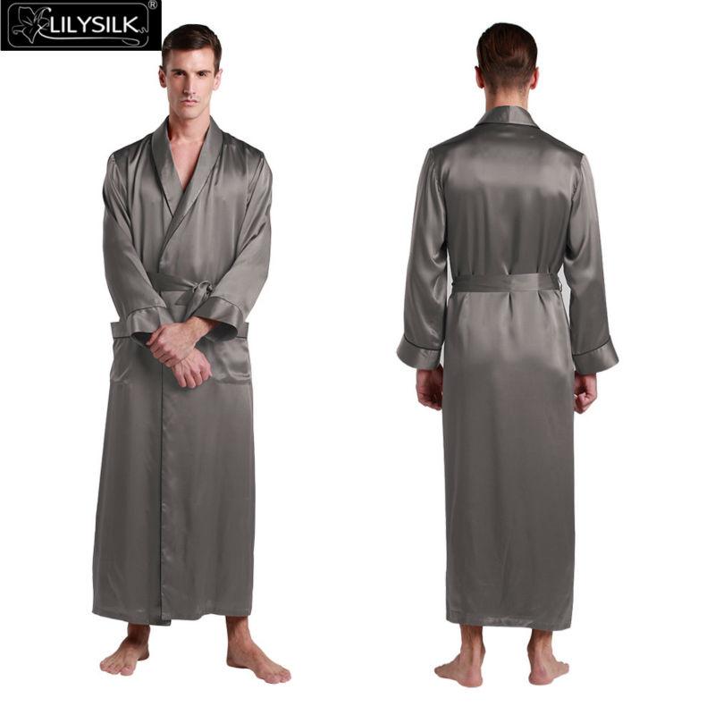 Lilysilk 100% Pure Silk Mens Robe Kimono Japanese Sexy Long Wedding 22 Momme Long Sleeve Satin Luxurious Sleepwear Mens Lounge(China (Mainland))