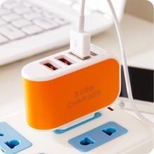 Triple USB Port Wall Home Travel AC Power Adapter 3.1A EU Plug Orange Color  AC Power Adapter(China (Mainland))