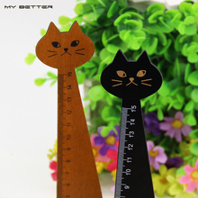 Creative Wood Straight Ruler Black Yellow 2 Colors Lovely Cat Shape Ruler Office Supplies Gift for Kids School Supplies15cm