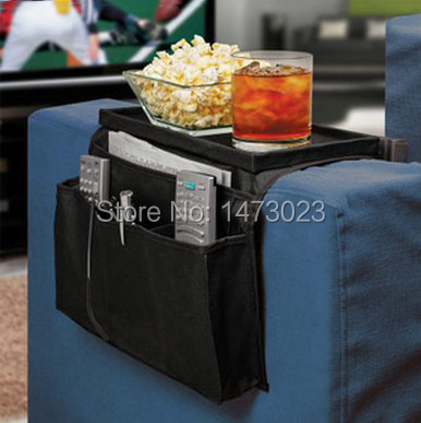Sofa tray foldable bag oxford cloth sofa side pouch sorting bags remote control bags free shipping(China (Mainland))