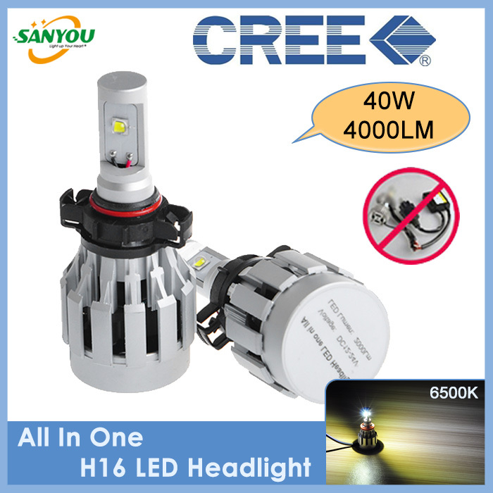 2014 New Arrival 1 Set 40W 4000Lm H8 H9 H11 H16(EU) Car LED Headlight Lamp Auto Led Headlamp CREE Chip LED Brightness Bulbs<br><br>Aliexpress
