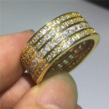 Hiphop רחב טבעת צהוב גולדפילד AAAAA מעוקב Zirconia רומאנה מסיבת נישואים טבעות לנשים גברים ערב המפלגה תכשיטים(China)