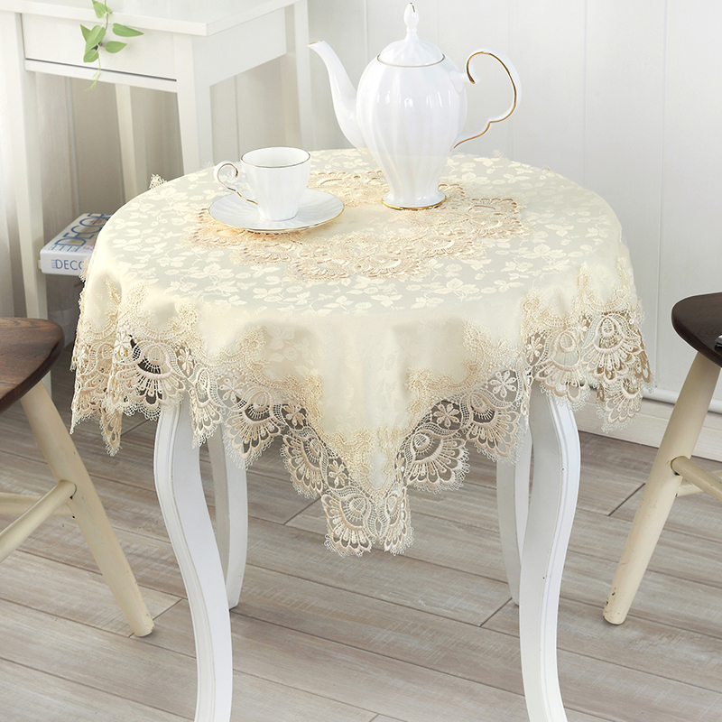 [WIT]85x85cm European Table cloth Square Transparent Pastoral Embroidered Lace Table Cloth High-grade All-purpose Lace Cover 1pc(China (Mainland))