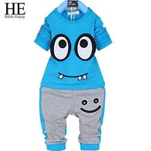 HE Hello Enjoy kids clothes set 2016 autumn boys clothing set girls clothes long sleeve+pants set cartoon children clothing(China (Mainland))