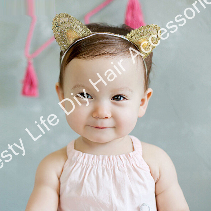 10pcs/Lot kids baby Girl's cat Ear Headbands Gold Wrap hair bands for Girls hair accesories headwears freeshipping(China (Mainland))