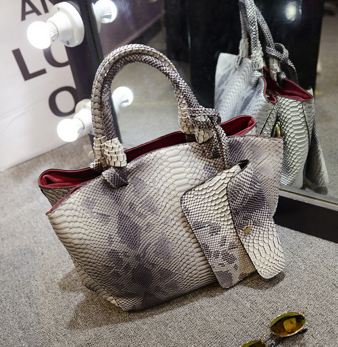 2015  leather bags crocodile snake skin women handbag fashion designer brand high quality shoulder bags ladies tote bag A70-778(China (Mainland))