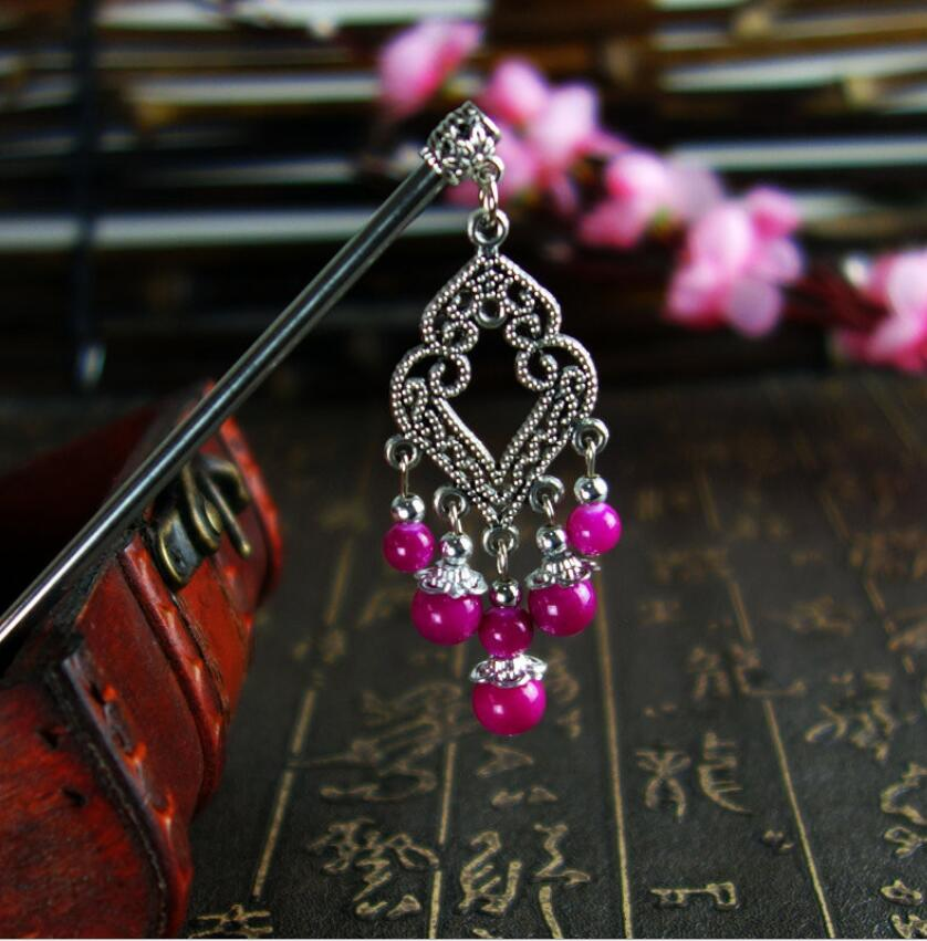 1Piece Free shipping ethnic ornaments of pure handmade flower hair stick, vintage chopsticks,High quality & cheap price ALHS1260(China (Mainland))