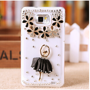 new rhinestone crystal flower case cover for samsung galaxy s2 i9100 case(China (Mainland))