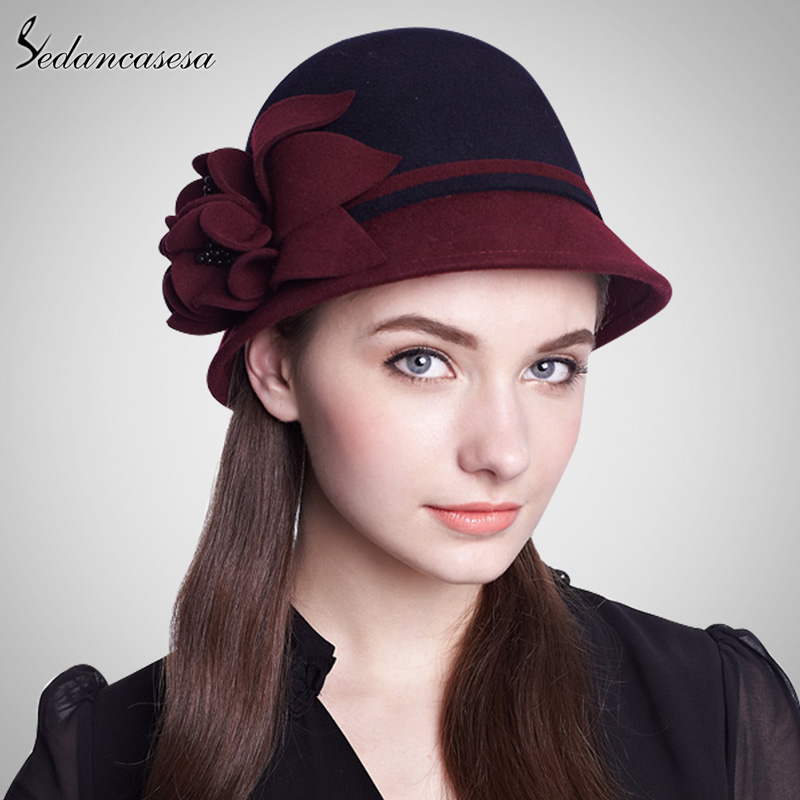 100% Wool From Australian Fedora Hat Multi-color Women Fashion Hat Personality Felt Basin Hat Flower Round Brim Hat FW014041(China (Mainland))