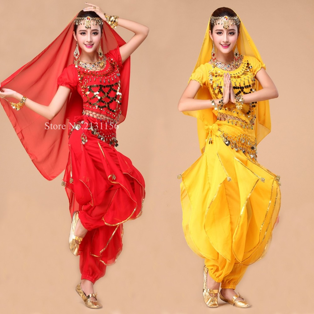 6 Colors Belly Dance Costume Set Tops+Skirt+Veil+Waist Belt 4pcs Bollywood Indian Dance Wear Stage & Performance(China (Mainland))