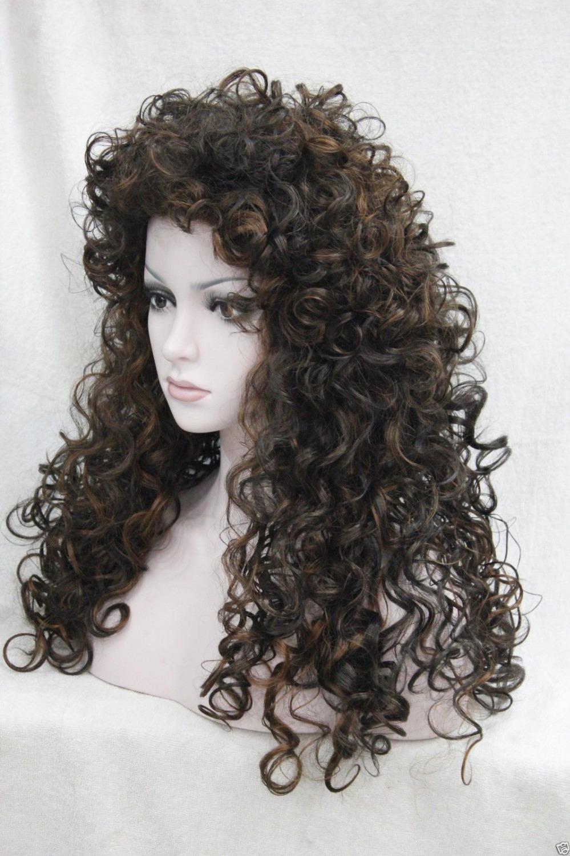 kk 004452 24 long dark brown mix medium auburn synthetic hair wig loose curls <br><br>Aliexpress