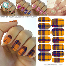 Granny Chic Yellow Purple Tartan Water Transfer Design Nails Stickers Manicure Styling Tools Water Film Paper Decals