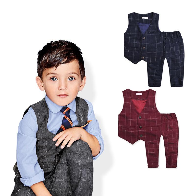 2016 spring new arrival Plaid suit Vest Tuxedo kids Formal Wear set Children boy gentleman Clothes set<br><br>Aliexpress