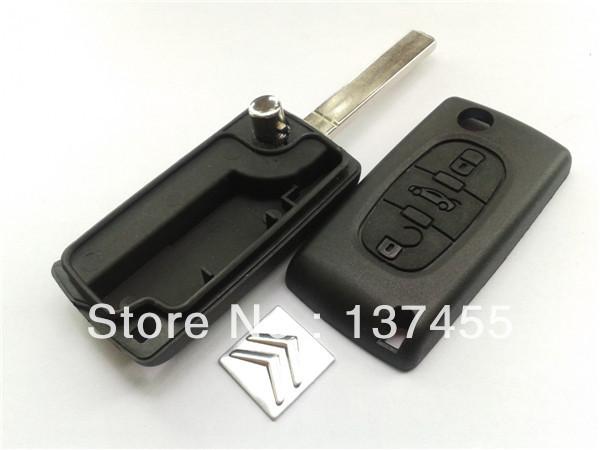 1pcs free shipping Folding key blank Citroen c2 c5 3 buttons flip key case trunk button no battery and fiat keys fob(China (Mainland))