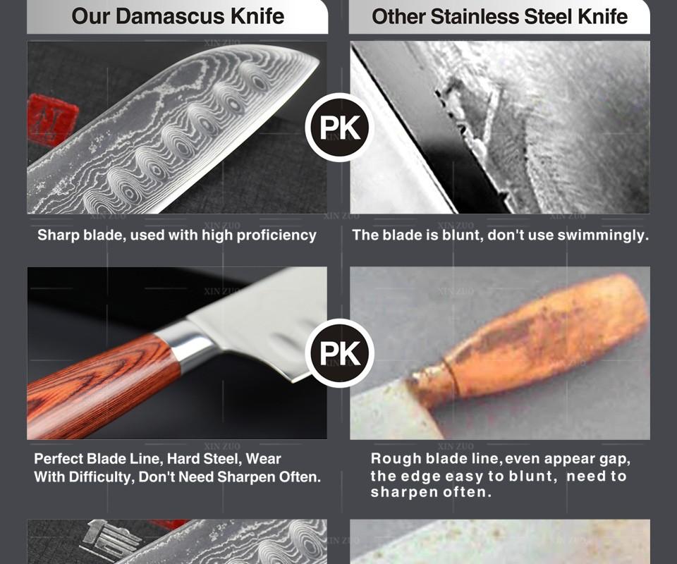 Buy XINZUO 3 pcs Kitchen knife set Japanese 73 layers Damascus kitchen knife cleaver chef utility knife wood handle free shipping cheap