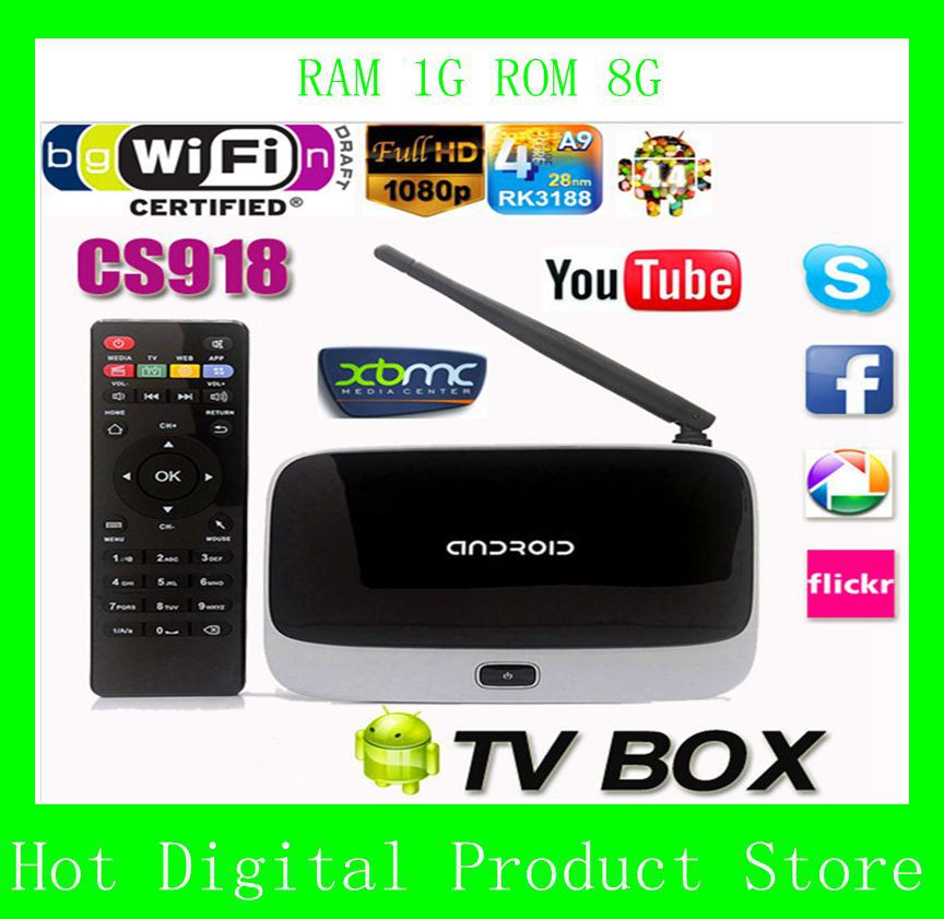 Henscoqi 1GB+8GB CS918 TV Box RK3188 Quad Core Android 4.4 Smart TV Box Full HD Media Player(China (Mainland))