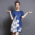 S 5XL Brand Women 2016 New Summer Embroidery Half Sleeve Knee Length Slim Denim Dresses Casual