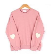 2016 kawaii women's harajuku preppy style soft sleeves peach heart o-neck solid pink color sweatshirt vintage hoodies for women(China (Mainland))