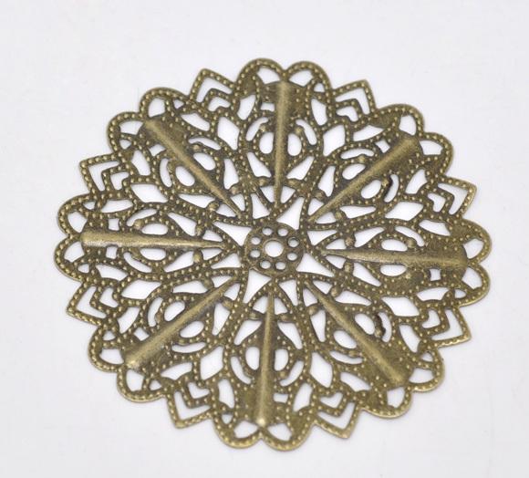 Free Shipping 30 Bronze Tone Filigree Flower Wraps Connectors 5.2cm B100016