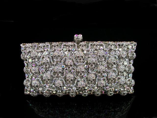 WhiteAB Crystal skull Lady Fashion Party silver Metal Evening purse handbag clutch bag case<br><br>Aliexpress