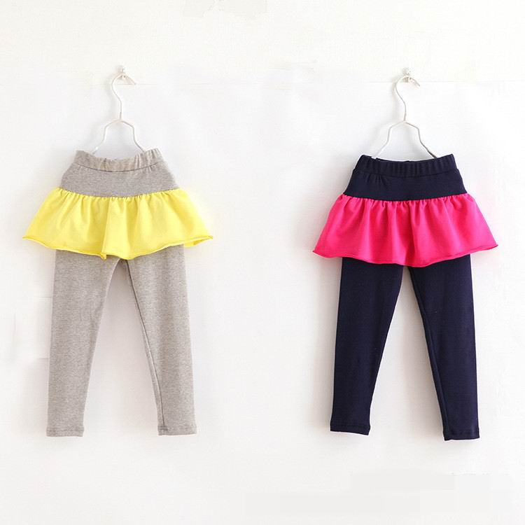 2015 Autumn New Girls Legging Solid Patchwork Cotton 2-7Y 15012