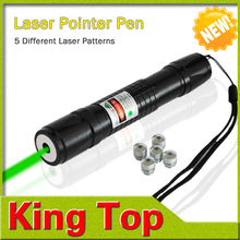 High power NEW Green Lighting LED Laser Point Flashlight with 5 different Laser patterns Waterproof design CE ROHS(China (Mainland))