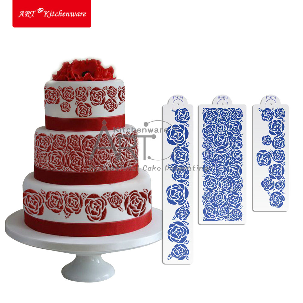 Rose Cake stencil , Cake Decorating Supplies Tools,Cake Side Stencil Template ST-827(China (Mainland))