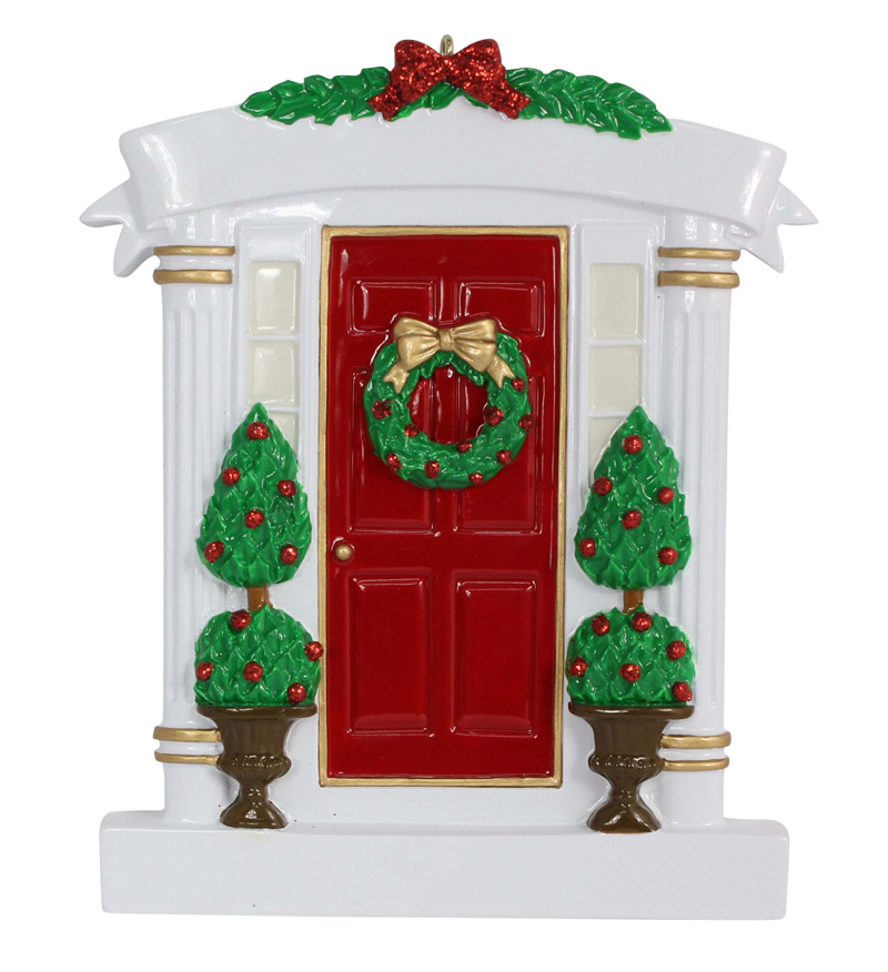 Wholesale resin red home door christmas ornaments with for House decoration products