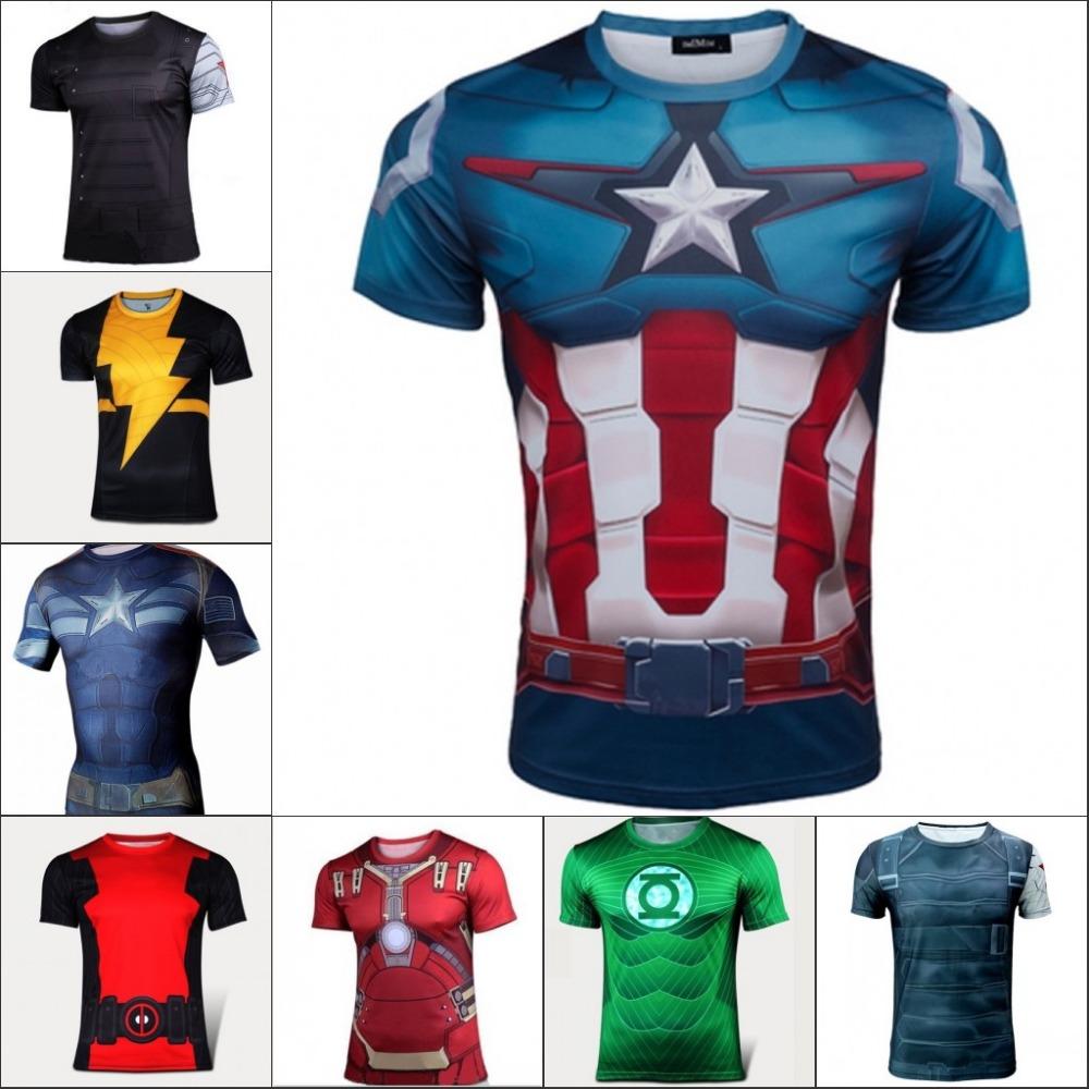 2016 Fashion Marvel Avenger Captain America Spiderman T shirt Men Armour Base Layer short Sleeve Thermal Under Top Sport T shirt(China (Mainland))