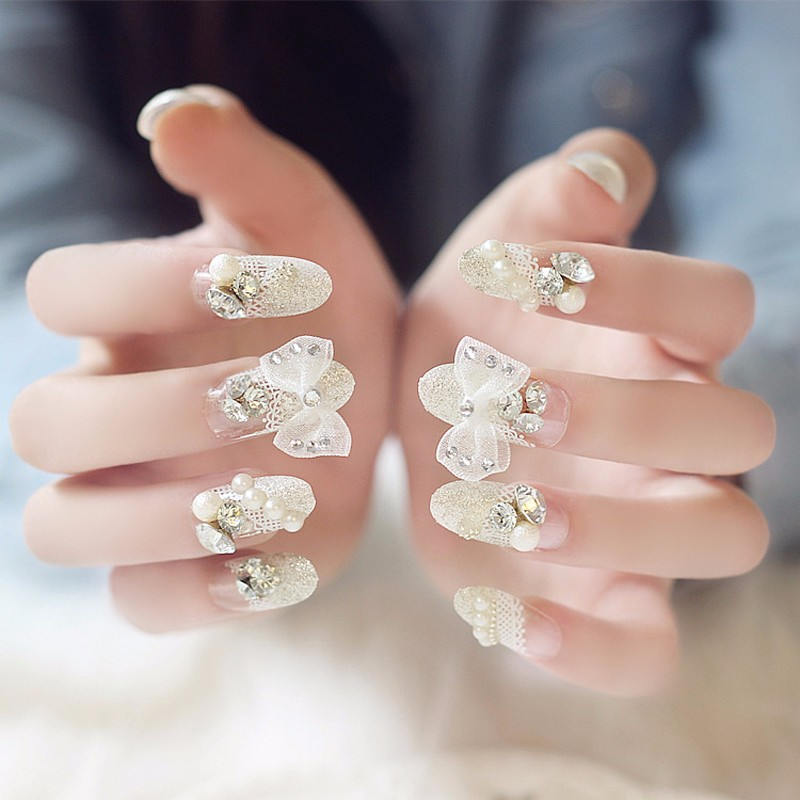 Wholesale bride 3d fake nails butterfly full lace pearl pre design yj bb03 4 prinsesfo Images