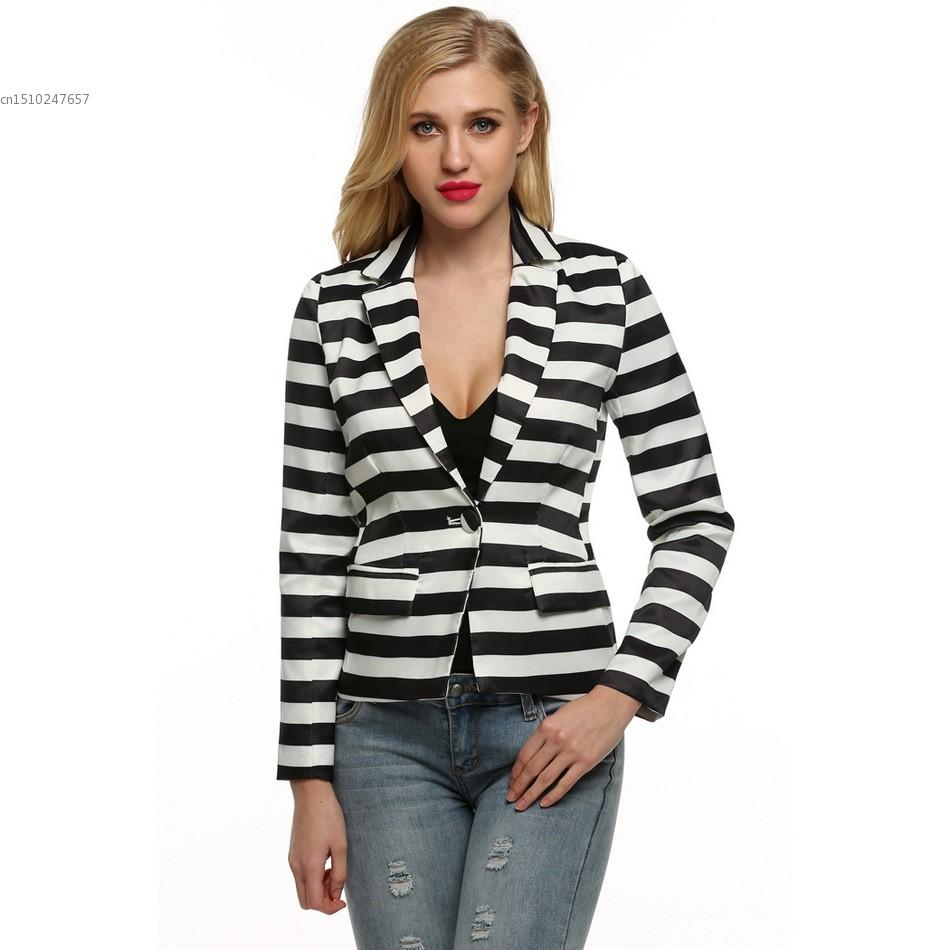 Women Fashion Striped Slim Jacket Ladies Spring Autumn Small Jacket-in Basic Jackets From Women ...