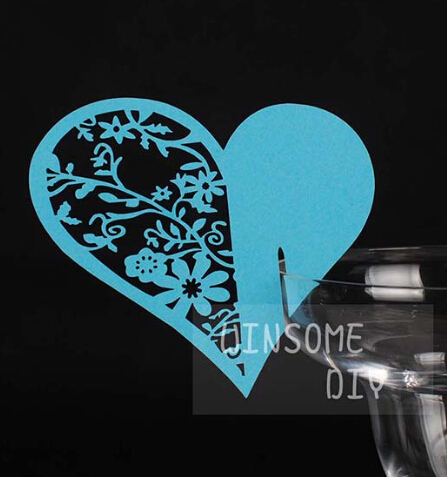 Bar cocktail Glass Markers Restaurant Table Cards decorations wedding birthday party Cake Toppers Place Card blue heart(China (Mainland))