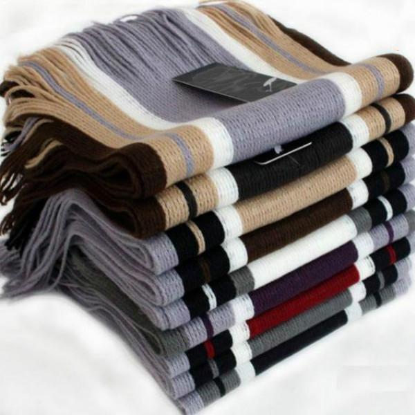 Hot Sale Men Winter Classical Striped Artificial wool Scarf Tassels Scarf Long Pashmina Shawl Drop shipping(China (Mainland))